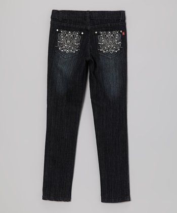 Black Rhinestone Lotus Jeans - Girls