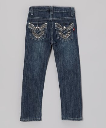 Medium Wash Rhinestone Loop Jeans - Girls