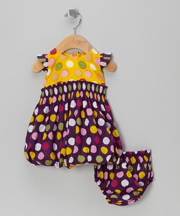Plum Polka Dot Bubble Dress & Diaper Cover - Infant