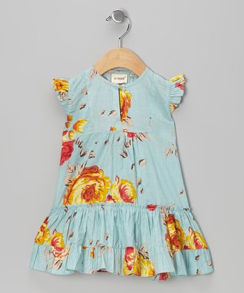 Blue Floral Angel-Sleeve Dress - Infant