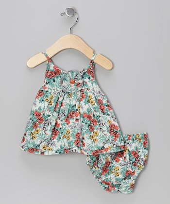 Gray Eclectic Flower Swing Dress & Diaper Cover - Infant