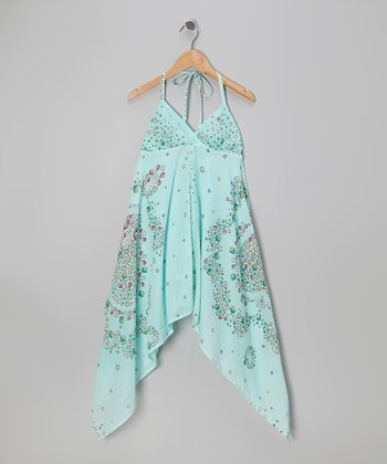 Aqua Ocean Floral Halter Dress - Toddler & Girls