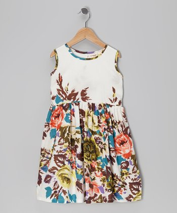 White Floral A-Line Dress - Girls