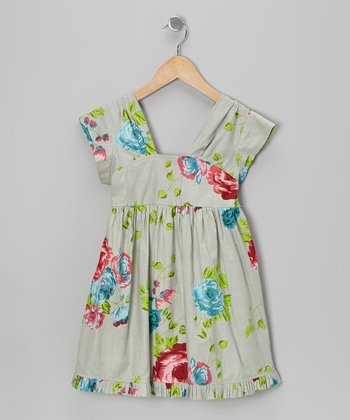 Green Rose A-Line Dress - Toddler & Girls