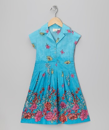 Blue Floral A-Line Dress - Toddler & Girls
