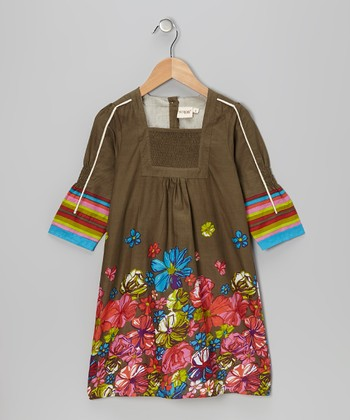 Olive Floral Shirred Dress - Toddler & Girls