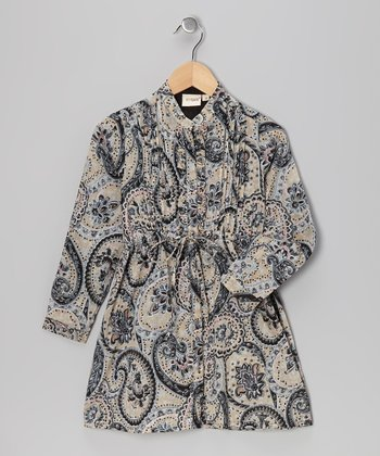 Black Paisley Shirt Dress - Toddler & Girls