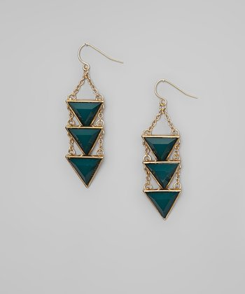 Turquoise & Gold Tiered Triangle Earrings