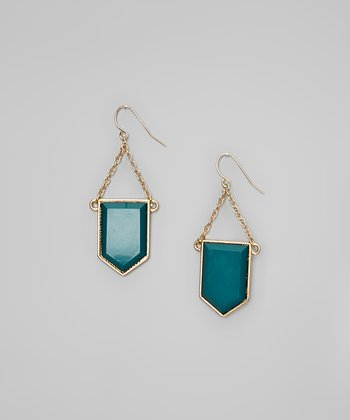 Gold & Green Geometric Earrings
