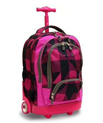 Pink Block Sunbeam Wheeled Backpack