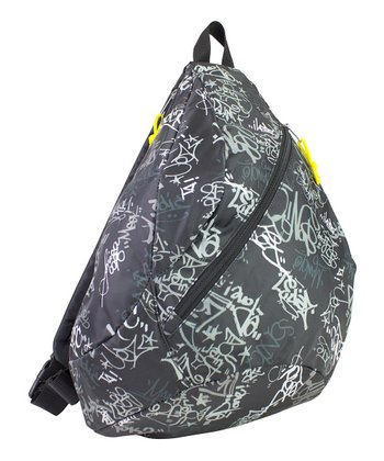 Gray & Yellow Graffiti Sling Backpack
