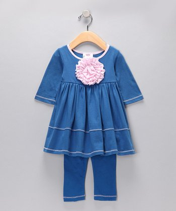 Blue Peony Tunic & Leggings - Girls