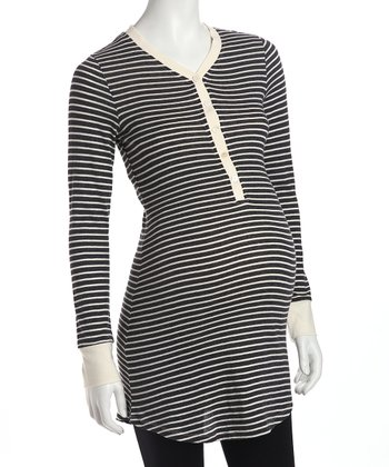 Dark Gray Stripe Maternity & Nursing Nightgown