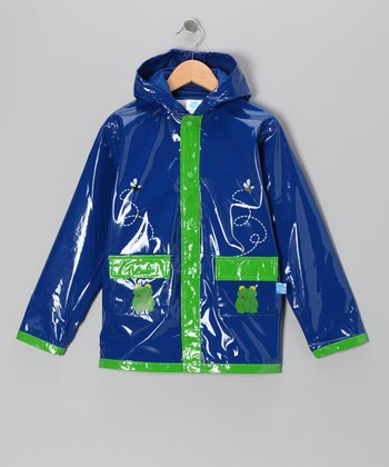 Blue & Green Frog Raincoat - Kids