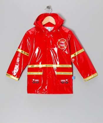 Red 'Fire Chief' Raincoat - Kids