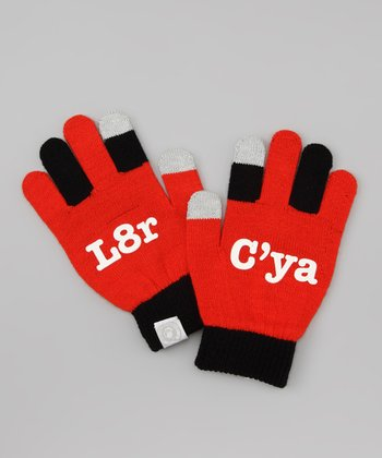 Red 'C'ya L8r' Texting Gloves