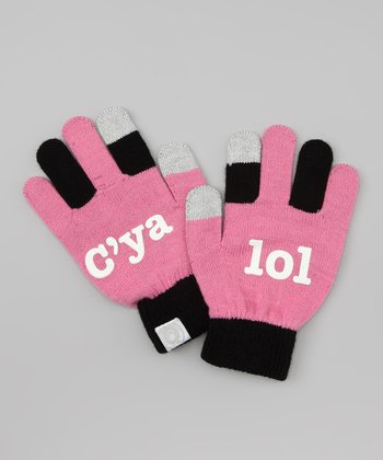 Pink 'lol c'ya' Texting Gloves