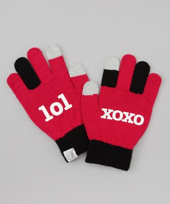 Fuchsia 'lol xoxo' Texting Gloves