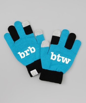 Blue 'brb btw' Texting Gloves