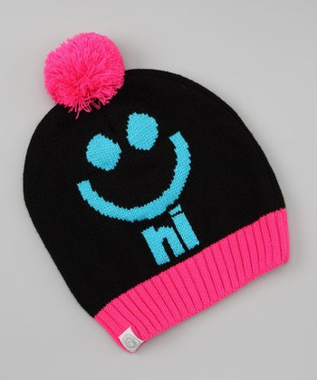 Black & Pink Emoticon Pom-Pom Beanie