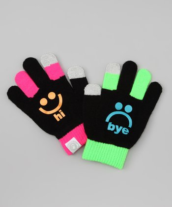 Black 'hi bye' Gloves