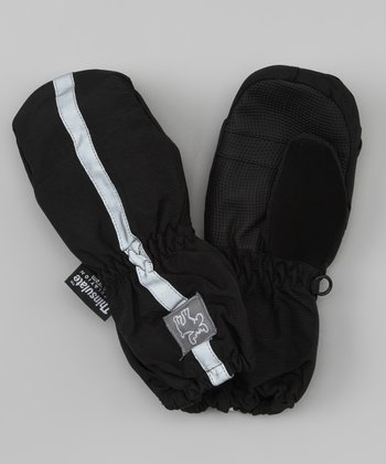 Black Stripe Ski Mittens