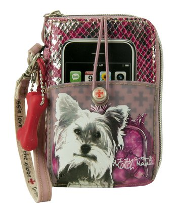 Pink Yorkshire Terrier Cell Phone Wristlet