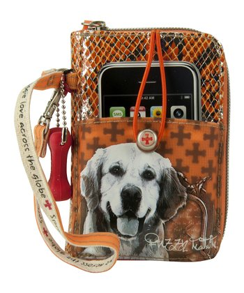 Orange Golden Retriever Cell Phone Wristlet
