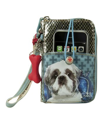 Blue Shih Tzu Cell Phone Wristlet