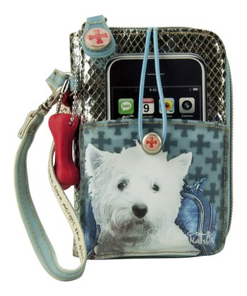 Blue West Highland White Terrier Cell Phone Wristlet