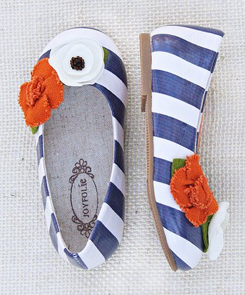 Joyfolie Blue & White Stripe Skimmer Flat - Girls