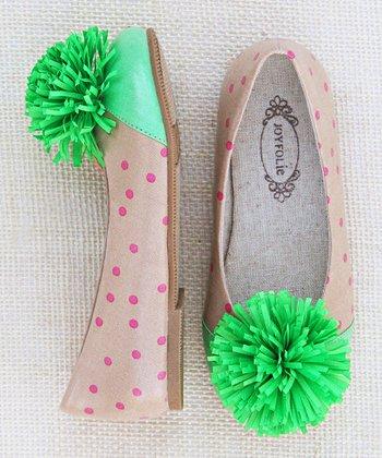 Pink & Ivory Polka Dot Dottie Skimmer Flat - Kids