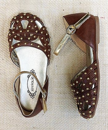 Brown & Gold Stud Brooklyn Mary Jane - Kids