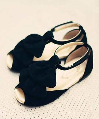 Black Amelie T-Strap Sandal - Kids