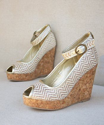 Tan & White Chevron Alma Ankle-Strap Wedge - Women
