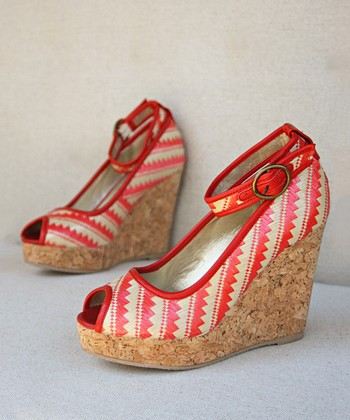 Coral & Ivory Zigzag Alma Ankle-Strap Wedge - Women