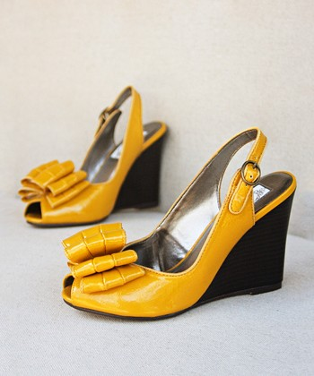 Mustard Yellow Lou Open-Toe Wedge - Women
