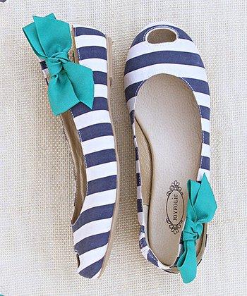 Navy & White Stripe Cutout Mia Flat - Women