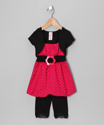 Fuchsia Polka Dot Bubble Tunic Set - Infant, Toddler & Girls
