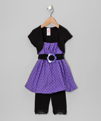 Purple Polka Dot Bubble Tunic Set - Infant, Toddler & Girls
