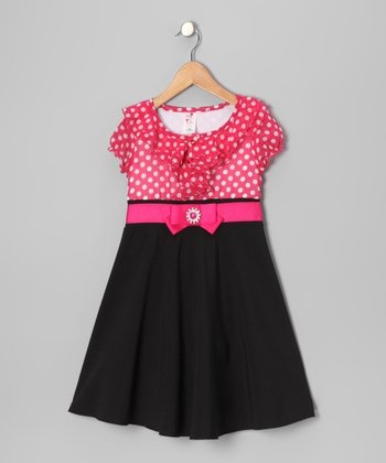 Fuchsia Polka Dot Dress - Toddler & Girls