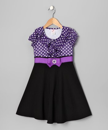 Purple Polka Dot Dress - Toddler & Girls
