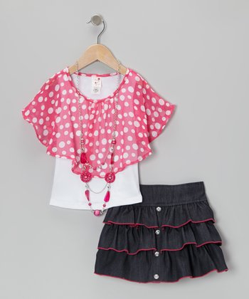 Pink Layered Poncho Top Set - Toddler & Girls