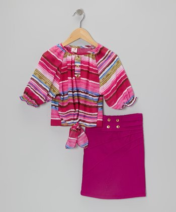 Fuchsia Stripe Top & Pencil Skirt - Toddler & Girls