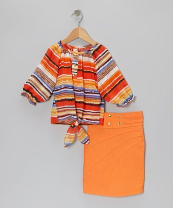 Orange Stripe Top & Pencil Skirt - Toddler & Girls