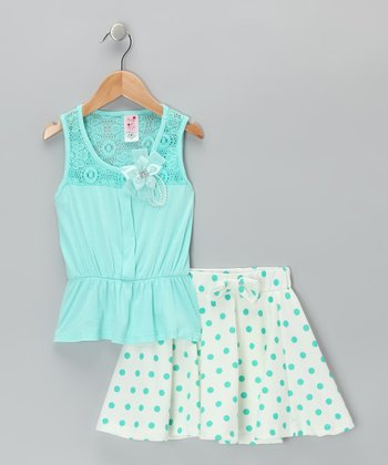 Seafoam Top & Polka Dot Skirt  - Infant, Toddler & Girls