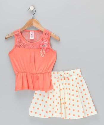 Coral Top & Polka Dot Skirt - Infant, Toddler & Girls