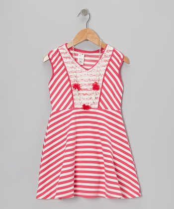 Pink Stripe A-Line Dress & Necklace - Girls