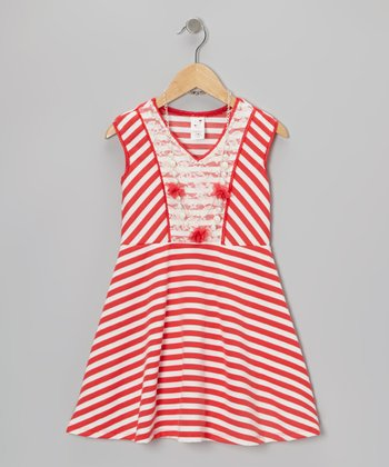 Red Stripe A-Line Dress & Necklace - Toddler & Girls