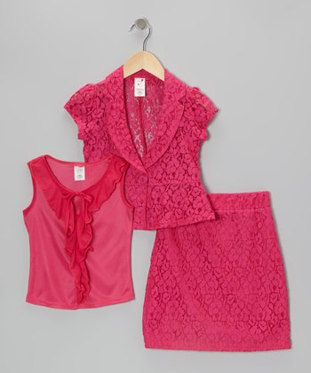 Pink Lace Blazer Set - Toddler & Girls